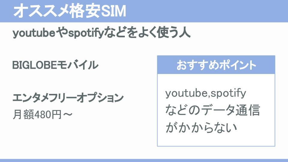 youtubeやspotifyなどの動画や音楽配信をよく使う人にオススメの格安SIM